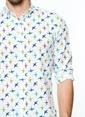 Daffari Desenli Slim Fit Uzun Kollu Gömlek Beyaz